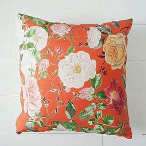 Orange Floral Cushion - RHS Royal Horticultural Society