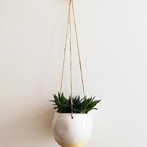 White Dip Glaze Hanging Planter