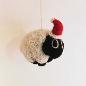 Felt Sheep with Santa Hat Christmas Decoration