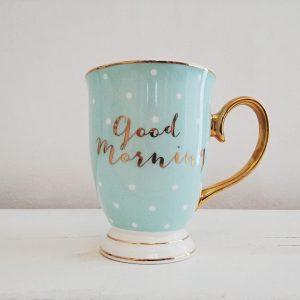 Good Morning Mint Mug with White Polkadots