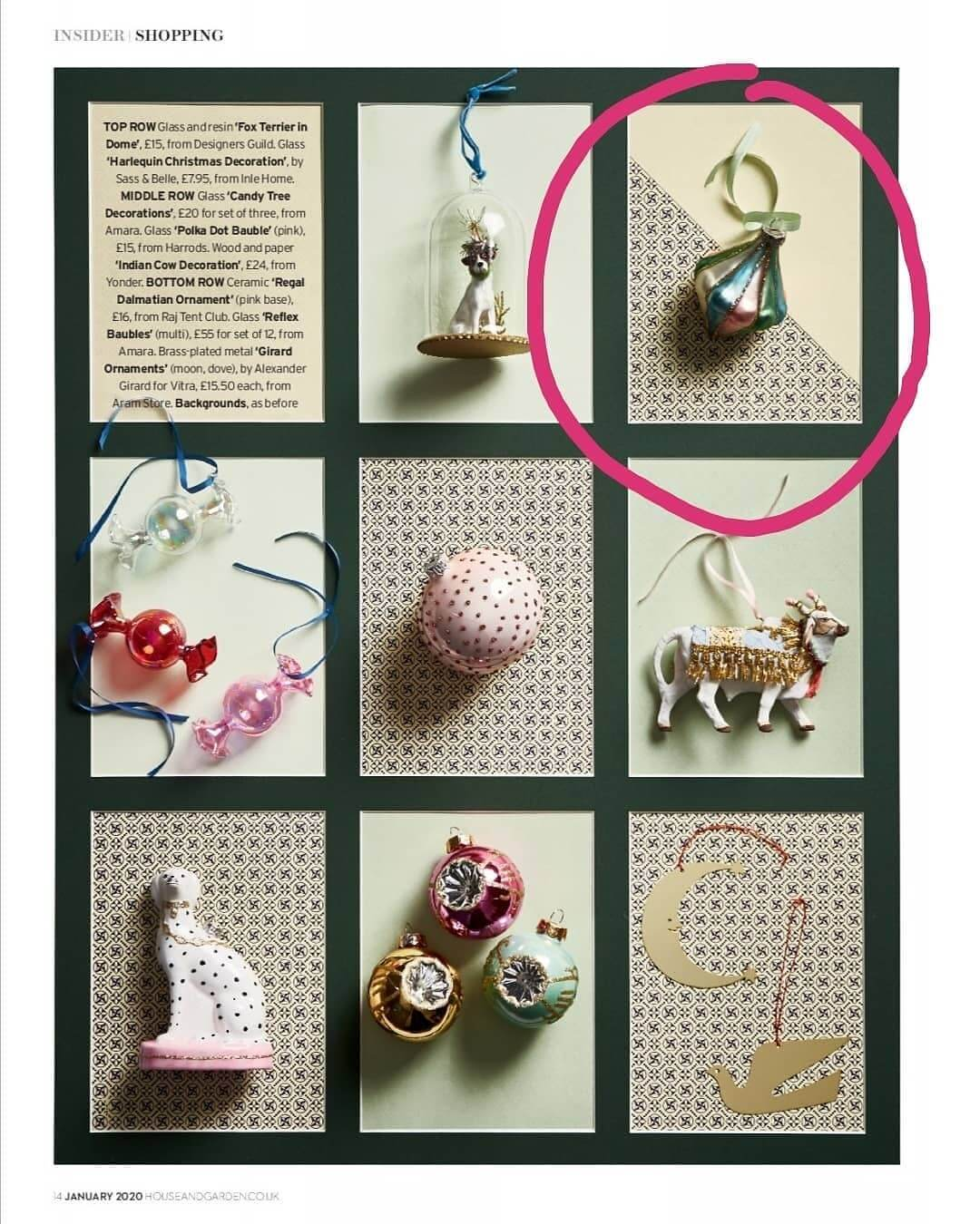 So proud to be featured in the latest issue of House and Garden! Only a few of these gorgeous harlequin decorations left in stock