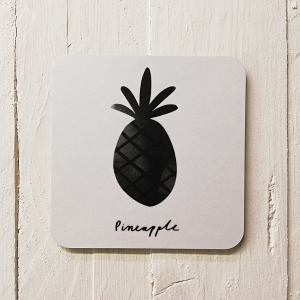 black and white pineapple coaster