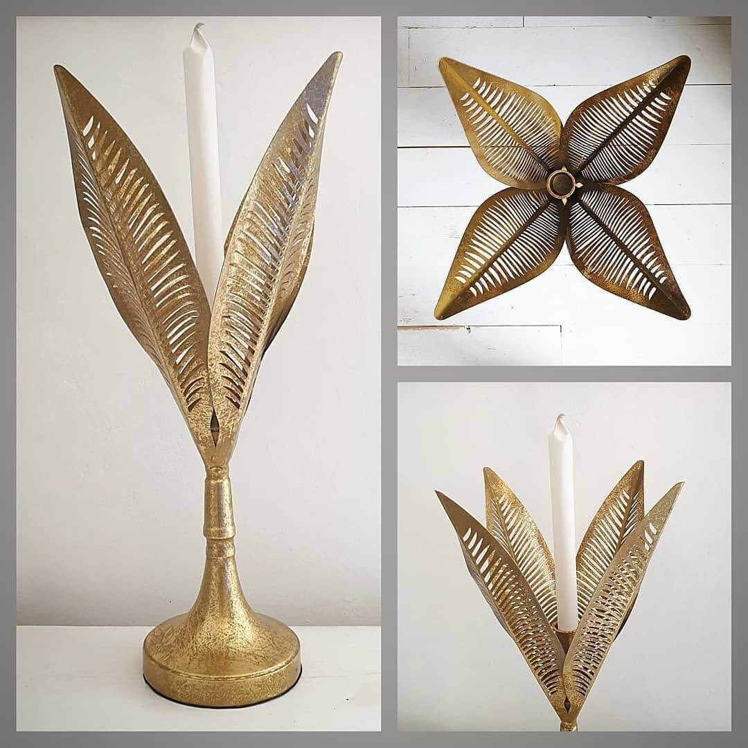 😍 Gorgeous new gold leaf candle holders now online. Available in large and small! 😍 www.inlehome.co.uk