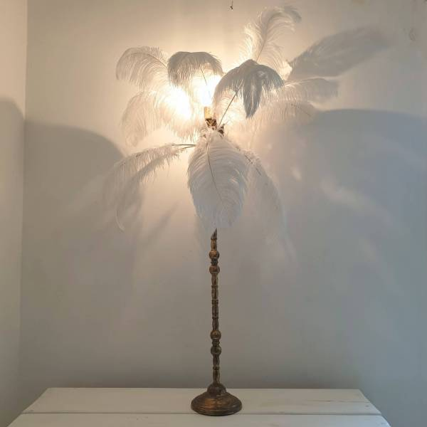 ostrich feather lamp with bulb on