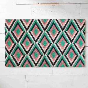 Pink and Green Geometric doormat by Artsy