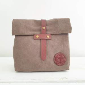 Waxed Roll-Down Ditty Wash Bag by Brighton Beard Co facing forward