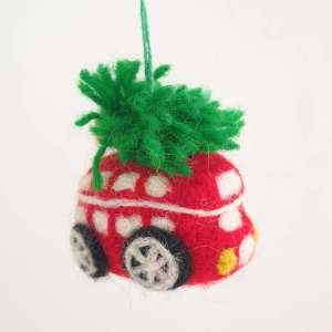 Felt Red London Bus Christmas Decoration