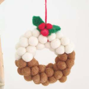 Mini Christmas Pudding Wreath hanging decoration