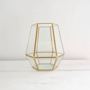 Small Gold Metal and Glass Candle Holder by McGowan and Rutherford
