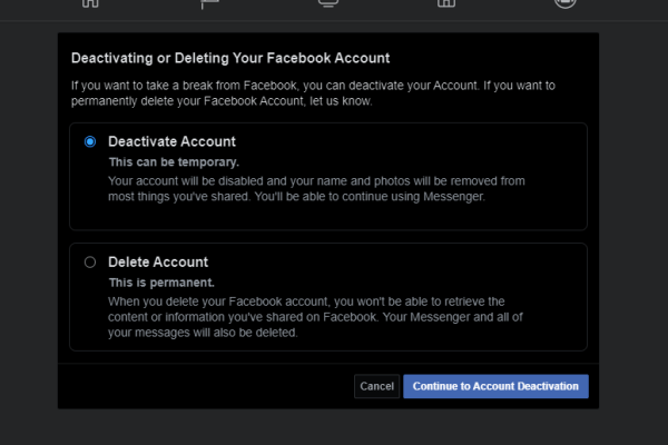 How to delete Facebook account permanently or temporarily?