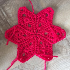 Red Crochet Star Details