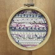 Purple and Blue Cross Stitch - Finished Back