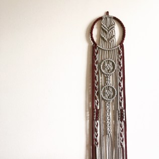 Silver and Wine Macrame Hanging