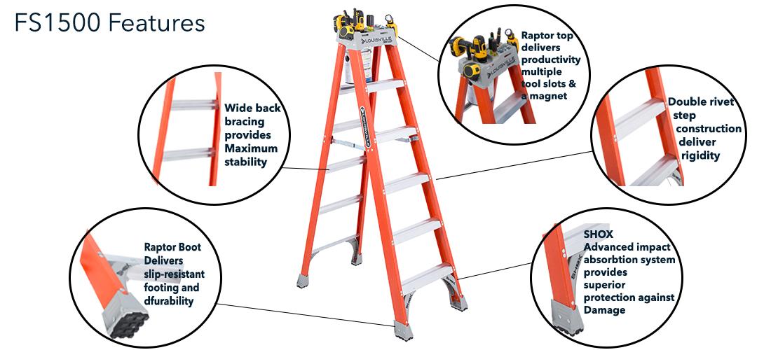 Louisville Ladder 12 Ft Fiberglass Step Ladder With 300