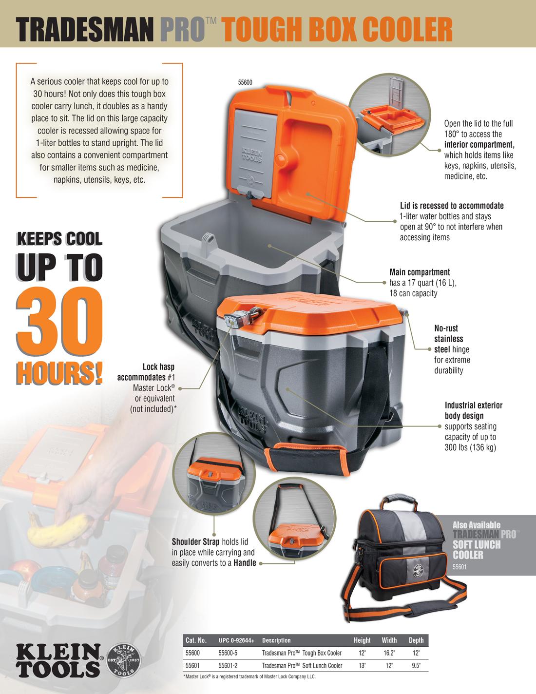 Klein Tools 17 Qt Tradesman Pro Tough Box Cooler55600  The Home Depot