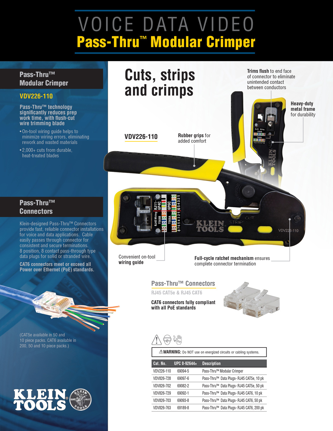 cat 5 wiring diagram straight through 1978 ford f150 fuse box klein tools 6 in pass thru modular crimper vdv226 110 the home depot click here to see which electrical you should use for your project