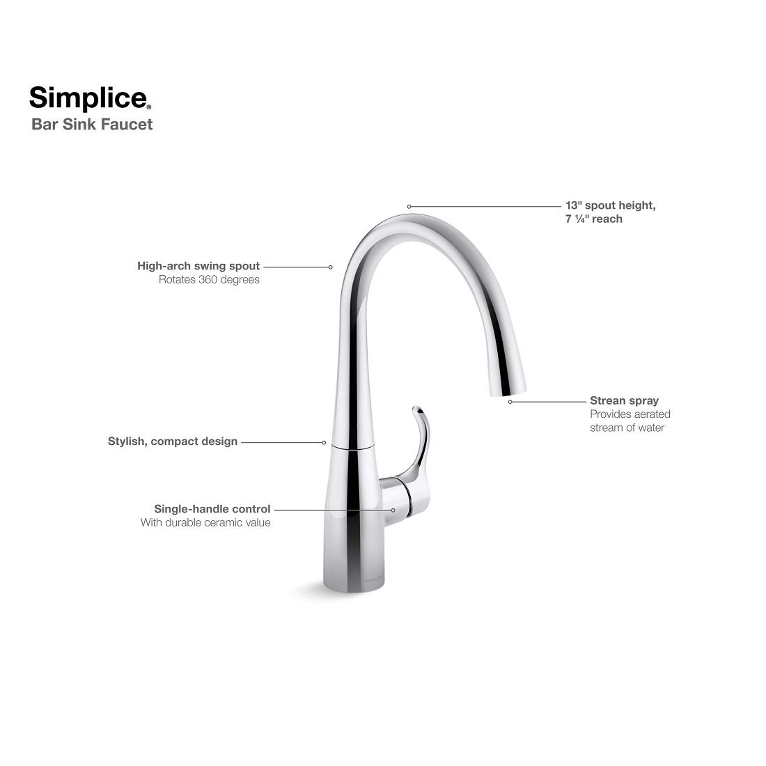Kohler Simplice Single Handle Bar Faucet In Vibrant