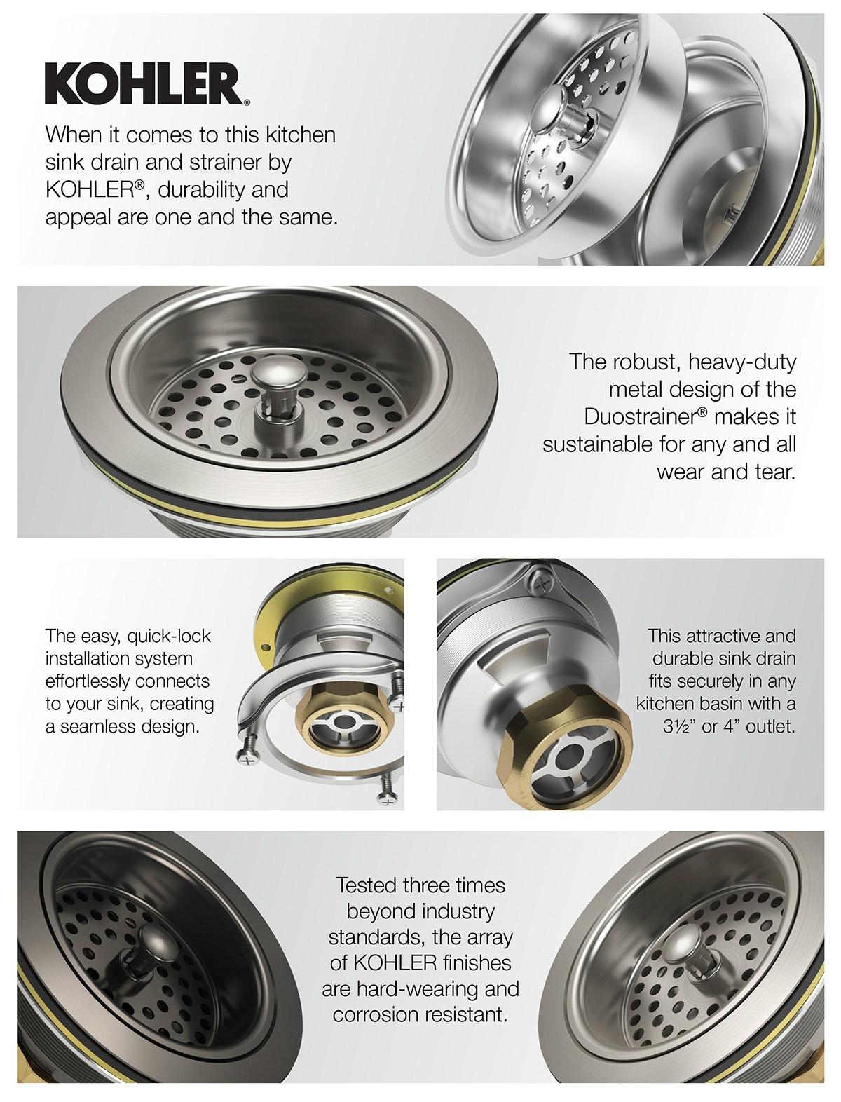 Home Depot Sink Strainer : depot, strainer, KOHLER, Duostrainer, 4-1/2, Strainer, Oil-Rubbed, Bronze-K-8799-2BZ, Depot