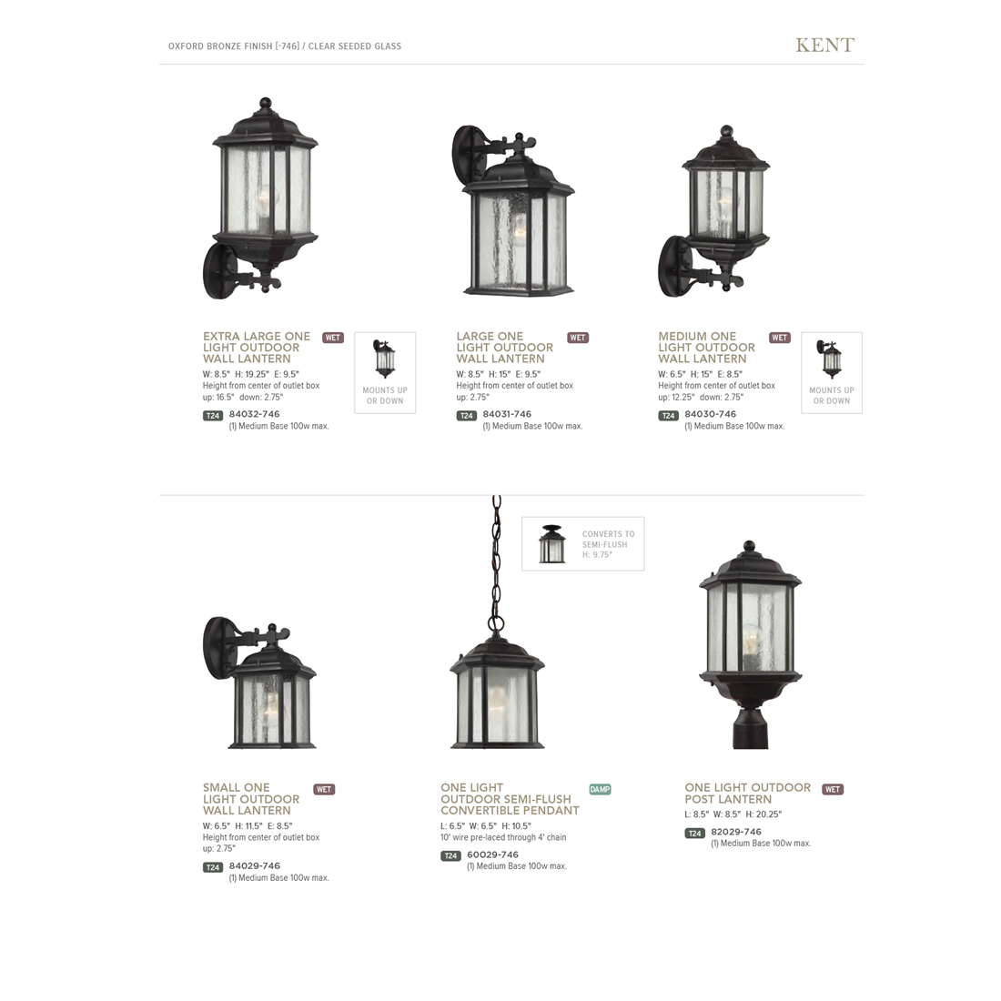 Sea Gull Lighting Kent 1 Light Oxford Bronze Outdoor Semi