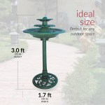 Alpine Corporation 35 In Tall Outdoor 3 Tiered Pedestal Water Fountain And Birdbath Green Tec106 The Home Depot