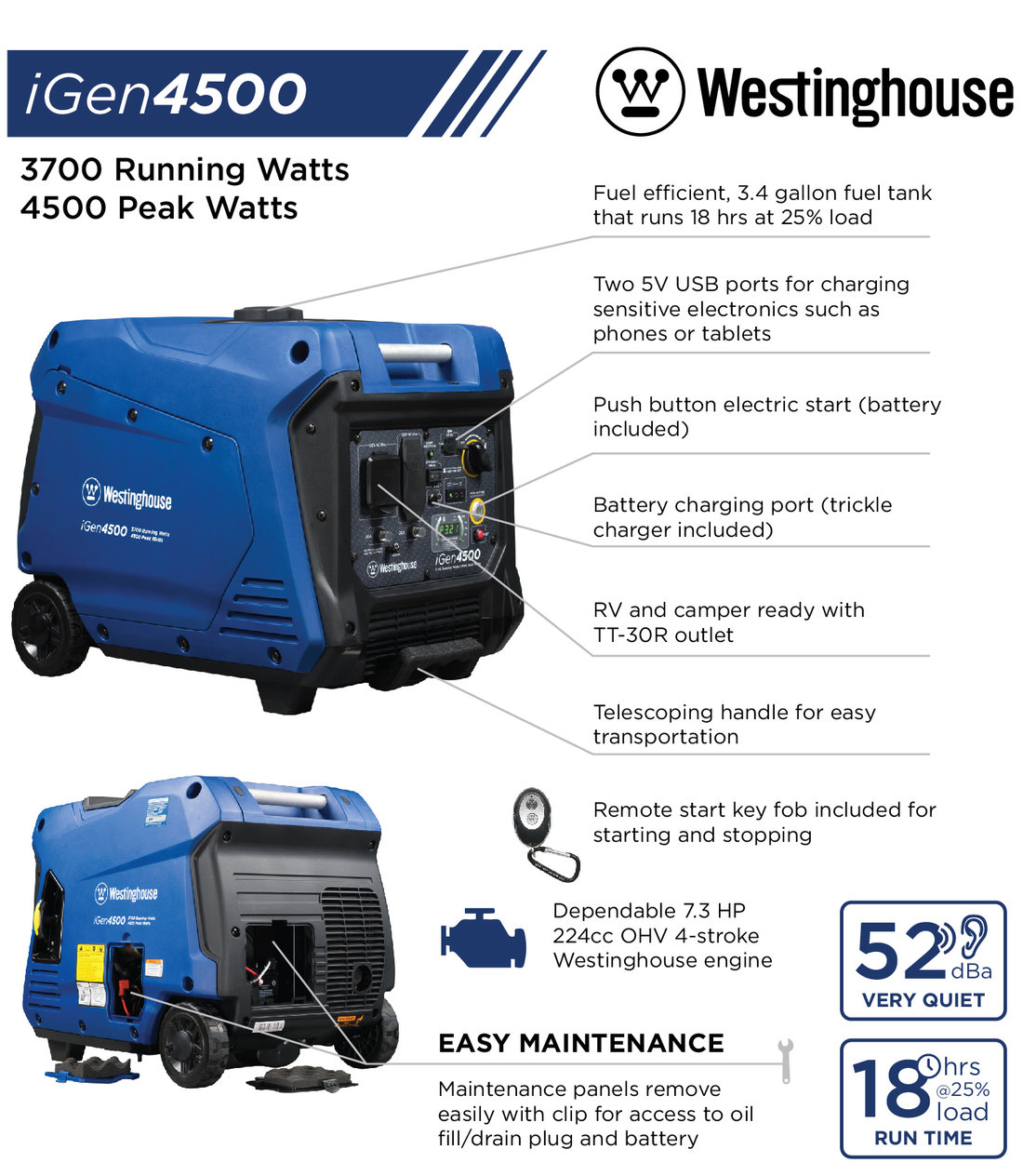 Westinghouse 4500Watt Super Quiet Gas Powered Inverter