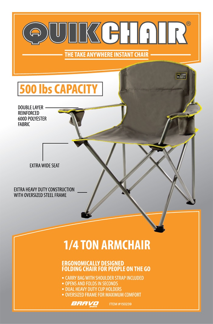 folding chair fishing pole holder cost plus chairs quik gray heavy duty patio armchair 150239 the home
