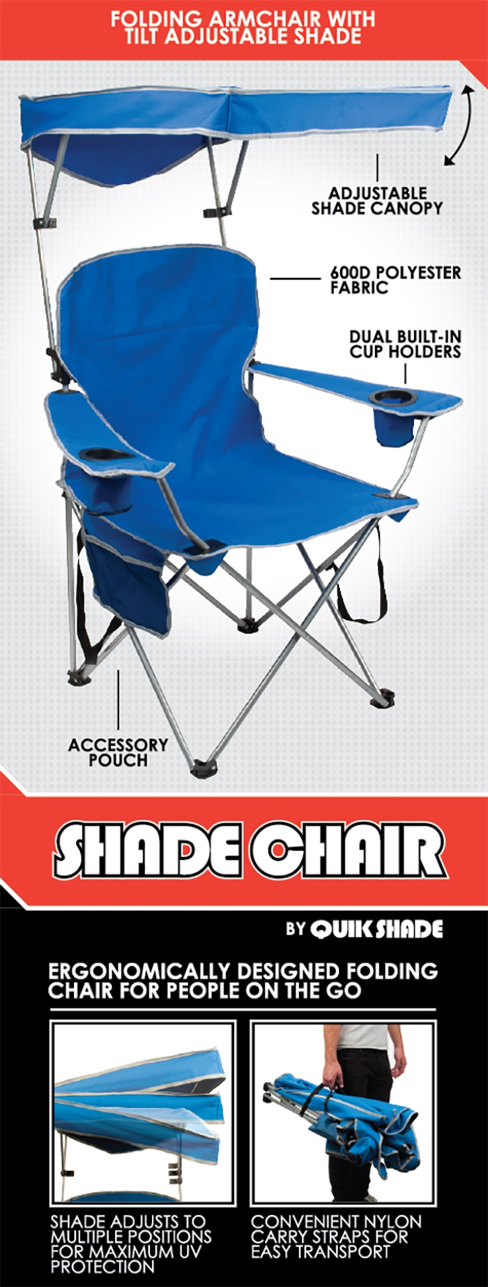 folding chair nylon lounge size quik shade royal blue patio with sun 150254