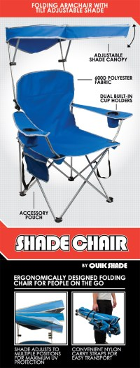 Quik Shade Royal Blue Patio Folding Chair with Sun Shade ...