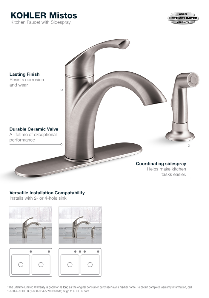 kohler kitchen faucets home depot cabinet finishes mistos single handle standard faucet with side in stainless steel