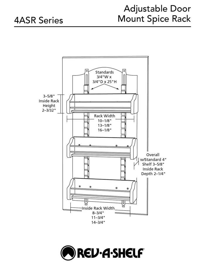 3 Shelf Kitchen Organizer Cabinet Door Mount Adjustable