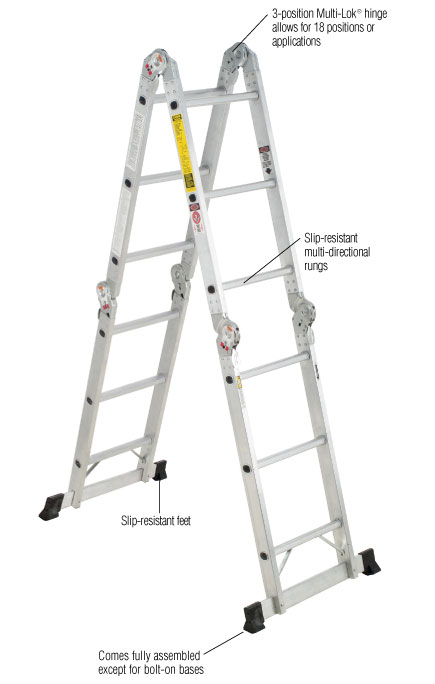 Werner 16 ft. Aluminum Folding Multi-Position Ladder with