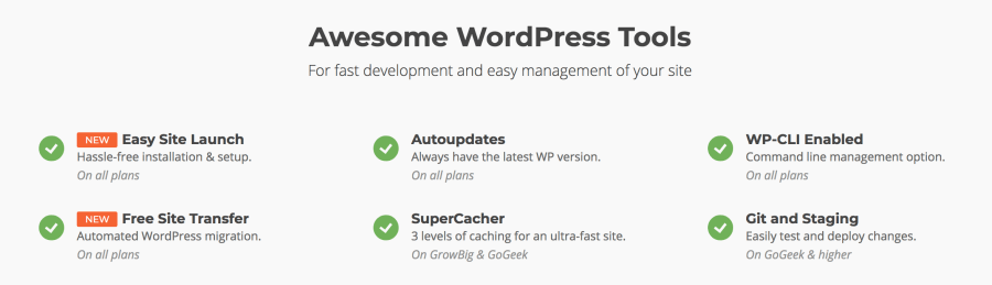 SiteGround Grow Big WordPress features