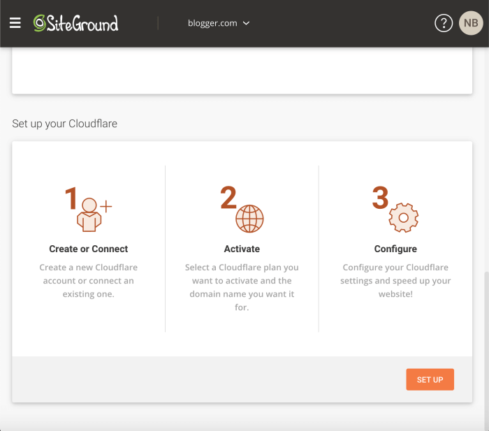 SiteGround Cloudflare Feature