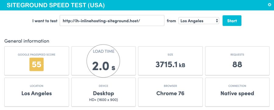 SiteGround Speed test from usa