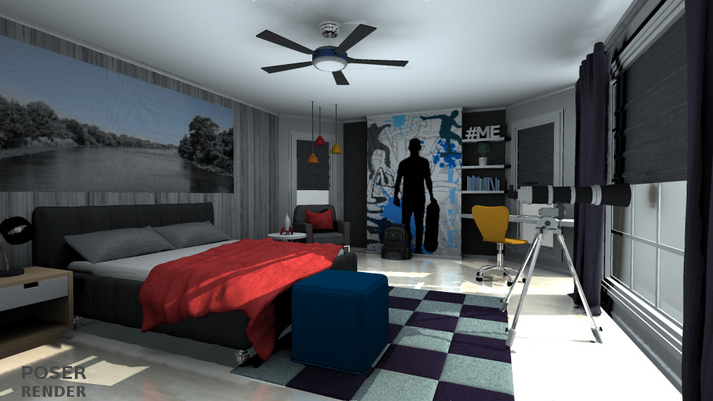 3D Teen Boys Bedroom  inLite studio 3D store