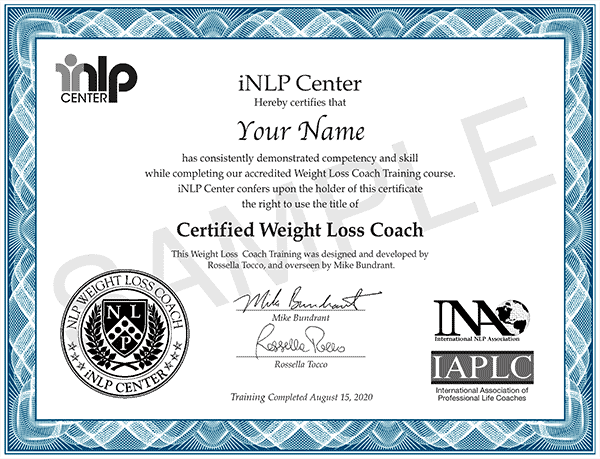 weight loss coach certification certificate