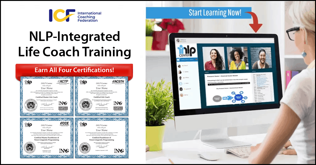 iNLP Center - ICF Accredited Life Coach Certification + NLP Training with Unlimited Live Zoom Classes!