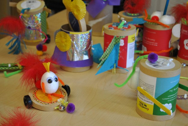 """A collection of Creativity Can """"creatures"""" designed by Inly students."""