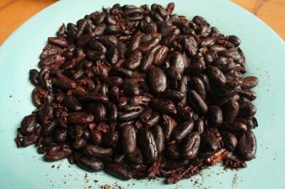 Roasted and peeled cocoa beans