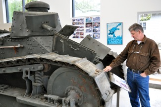 Bill Boller, president of Military Vehicle Technology Foundation with oldest tank in collection