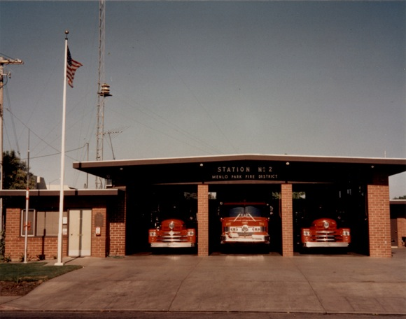 1956 photo of Menlo Park Fire Protection District Station 2