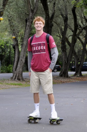 Sacred Heart Prep student on freeline skates
