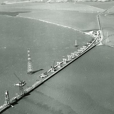 original Dumbarton Bridge with construction begun on its replacement