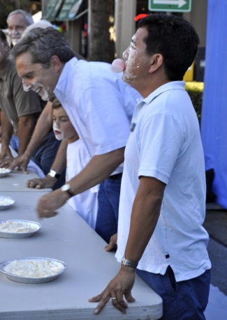 City Council member Peter Ohtaki wins pie eating/bubble blowing contest