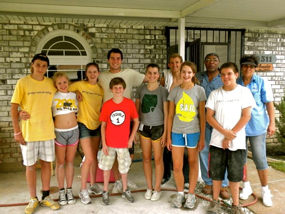 Trinity Church teens working on drywall project in New Orleans