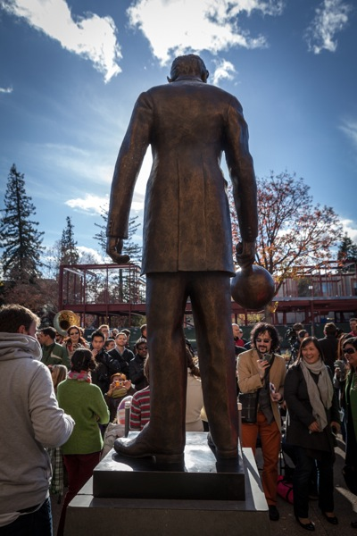 The Nikola Tesla statue towers over the proceedings at its unveiling on December 7. 2013 in Palo Alto, CA.