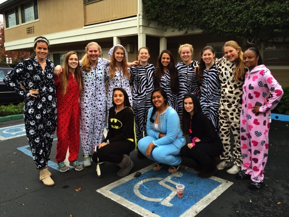 M-A girls basketball in jammies
