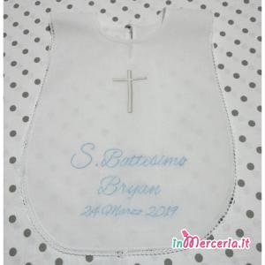 Camicina S. Battesimo in cotone con croce e nome