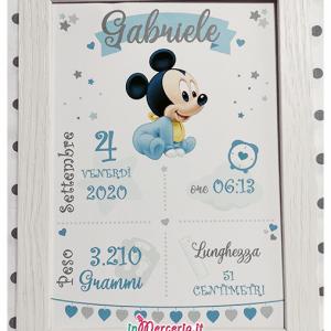 Poster quadretto nascita con Topolino Mickey mouse
