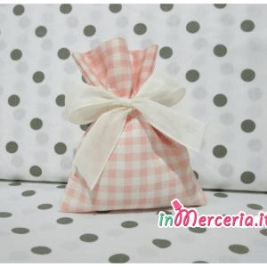 Sacchetti bomboniera portaconfetti quadrettato rosa